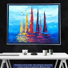 GM Bee Gallery Artwork - Sail Away Series Sailboat Racing, Sailboat Painting, Sail Away, Large Canvas, Wrapped Canvas, Original Artwork, Color Schemes, Sailing, Bee