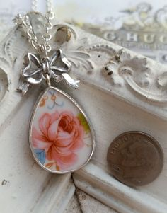 Pink Rose Broken China Jewelry Sterling Bow Necklace Pendant