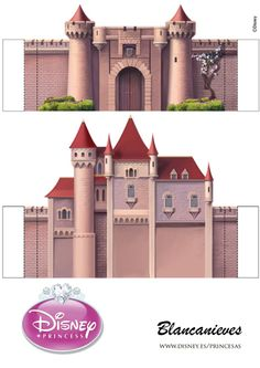 Snow White Castle - page 1 of 5 Disney Princess Castle, Disney Princess Snow White, Cardboard Crafts, Paper Crafts, Paper Binder, Ever After Dolls, Sleeping Beauty Castle, Cinderella Party, Party In A Box