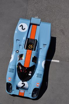 Porsche 917K Gulf Oil livery one of the most awesome racing cars of all time.  Ridiculously powerful and fast and frightening to drive.