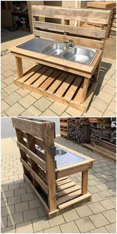 This shipping wood pallet idea will make you introduce out with the sink design for your garden use. Basically garden sink ideas are defined as the small house being set with miniature settlement of the sink as created out of the wood pallet. This idea is Mud Kitchen For Kids, Diy Kitchen, Kitchen Modular, Kitchen Wood, Kitchen Sink, Pallet Ideas Easy, Diy Pallet Projects, Diy Ideas, House Projects