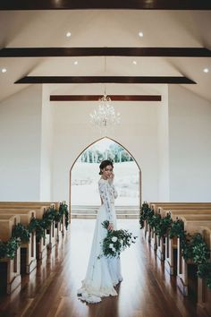 church wedding decorations aisle decorated with greenery bride in lace dress with bouquet ivy road photography Wedding Goals, Wedding Pics, Wedding Venues, Wedding Planning, Wedding Dresses, Trendy Wedding, Wedding Flowers, Wedding Chapels, Bridal Pics