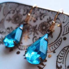 Estate Style Blue Earrings Old Hollywood Glamour Vintage Inspired Turquoise Something Blue Wedding Bride Aqua Dangle Sparkle Delicate Bright