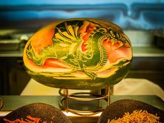 """""""It's Watermelon Wednesday! This carving was photographed by Chris Campbell aboard Freedom of the Seas. Freedom Of The Seas, Watermelon Carving, Chinese Dragon, Food Art, Travel Photos, Fruit, Ninja, Dragons, Wednesday"""