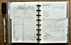 Monthly Bullet Journal Ocean, under the sea theme, nautical and shells  Agenda dibujos tema del oceano, náutico y conchitas