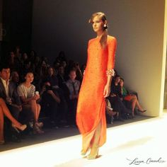 love this tangerine 3/4 sleeve gown from jenny packham
