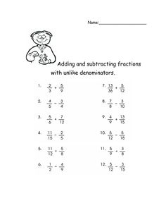 math worksheet : fractions worksheet  subtracting fractions with unlike  : Adding Fractions Unlike Denominators Worksheet