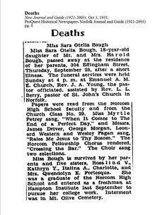 Sunday's Obituary – Miss Sarah O. Bough, 1931 #genealogy #familyhistory