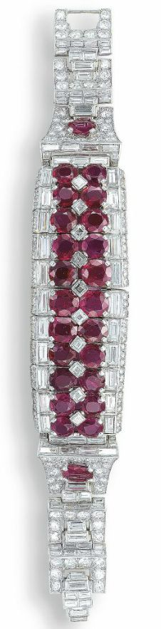 ART DECO RUBY AND DIAMOND BRACELET, BY CARTIER, C.1938.