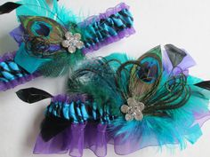 Peacock Wedding Garter Set Turquoise Garters by NakedOrchidGarters @White Peacock Styled Events | Nicole Liwienski + Jennifer Rasmussen