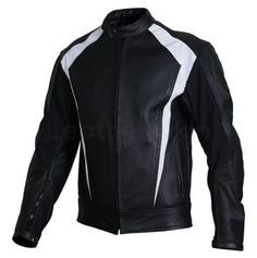 Men Black Biker Motorcycle Leather Jacket with White Perforated Stripe Panels Long Leather Coat, Leather Jacket With Hood, Leather Skin, Black Leather, Motorcycle Leather, Biker Leather, Motorcycle Jackets, Best Leather Jackets, Stylish Jackets
