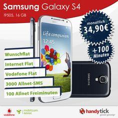 Galaxy S4 im Vodafone Flat 4 You Plus Tarif für 34,90 € im Monat