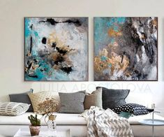 80x40inch Abstract Watercolor Print Gold Leaf Painting Gold
