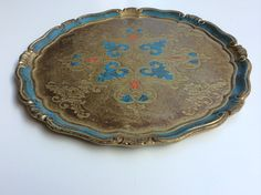 turkoosisävyinen tarjotin . turquoise colored tray diameter 38.5 cm SOLD