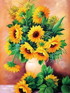 Diamond art is beautiful and we've got the best diamond painting kits around! Check out our what is diamond painting guide for diamond painting tips Sunflower Bouquets, Sunflower Art, Hyacinth Flowers, Sunflower Pictures, Painted Vases, Diamond Art, 5d Diamond Painting, Arte Floral, Wine Bottle Crafts
