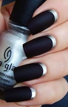 Top three Black and Silver Nail Designs with Classic Visibility : Black And Silver French Nails Ideas. black and silver french nails,black and silver nail designs,black and silver nail pictures Silver Nail Designs, Nail Polish Designs, Nail Art Designs, Nails Design, Polish Nails, Dark Nail Polish, Black Silver Nails, Silver Nail Art, Matte Black