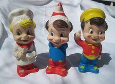 Vintage Rubber Vinyl Kellogg's Snap Crackle Pop Advertising Dolls