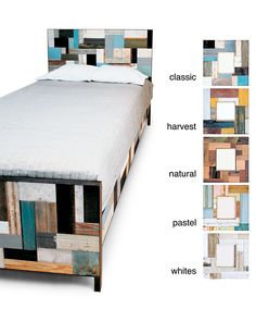 PATCHWOOD HEADBOARD WITH BED FRAME | Margaret Taylor Patchwork Twin Bedframe, Double Bedframe, Queen Bedframe, King Bedframe And Headboard For Kids Bedroom Decor Steel Furniture Made of Ceiling Tin, Molding From Houses, Beaded Board | UncommonGoods