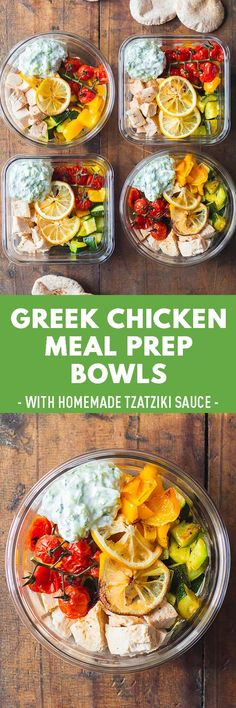 Mega delicious Greek Chicken Meal Prep Bowls using baked chicken breast, zucchini, bell pepper and a homemade authentic tzaziki sauce. Entree Recipes, Lunch Recipes, Healthy Recipes, Spicy Recipes, Healthy Meals, Dinner Recipes, Healthy Cooking, Healthy Eating, Cooking Recipes