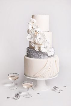 white and silver sequin wedding cake