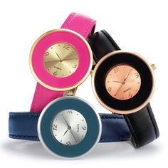 Round faced strap watch with wide bezel.