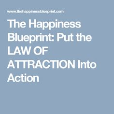 The Happiness Blueprint: Put the LAW OF ATTRACTION Into Action