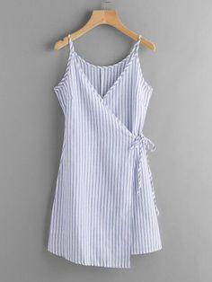 Vertical Striped Wrap Cami Dress