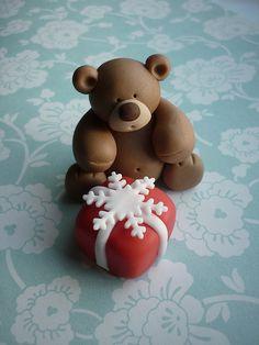 Christmas teddy bear cake topper