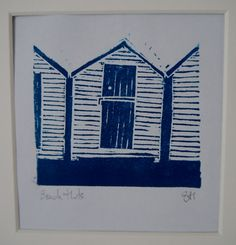 Beach Hut Lino Print