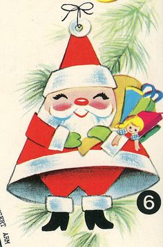 Vintage Santa Claus Christmas card *1500 free paper dolls for Christmas gifts Arielle Gabriels The International Paper Doll Board also free Asian paper dolls at The China Adventures of Arielle Gabriel *