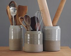 kitchen utensil holder- sand stoneware w/ grey glaze - modern minimal utilitarian ceramics by vitrifiedstudio READY MADE