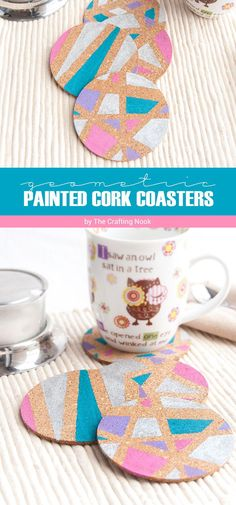 Either if it's for you or for a gift you will never get wrong with these cute and easy DIY Geometric Painted Cork Coasters. A few supplies, lots of love and imagination are all the things you need to make them!