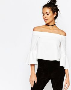 ASOS COLLECTION ASOS Off The Shoulder Top with Ruffle Sleeve