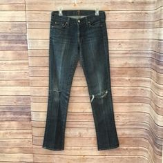 7 For All Mankind Roxy Distressed Straight Leg Jeans Blue 27