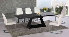 Black glass extending high gloss dining table and 6 white chairs set