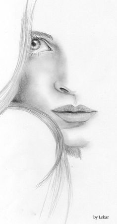 Portrait Drawing Image detail for -Woman face Sketch by ~lanfear-chess on deviantART - Pencil Art Drawings, Art Drawings Sketches, Drawing Faces, Half Face Drawing, Drawing Women Face, Horse Drawings, Portrait Au Crayon, Pencil Portrait, Art Amour