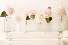blush peonies - yummy! This would be lovely in mason jars too, along the kitchen window.