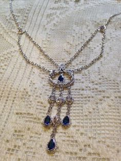 Nemesis Vintage Victorian Style Clear And Blue Crystal Sterling Silver Necklace