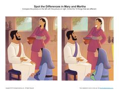 Mary and Martha Spot the Differences Children's Bible Activity Preschool Activity Sheets, Bible Activities, Toddler Preschool, Activities For Kids, Sunday School Games, Sunday School Projects, School Staff, School Ideas, Mary And Martha Bible