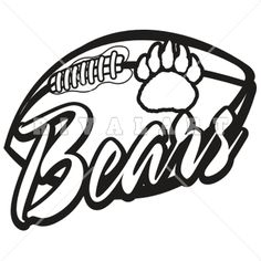 mascot clipart image of bear football graphic player black white rh pinterest com football logos clip art logo football clipart