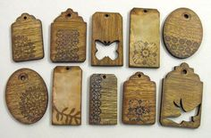 Rustic Tag Collection  10 Wood Grain pieces for by porkchopshow, $7.95