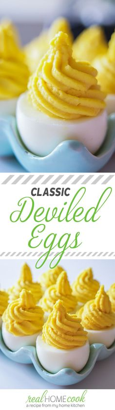 Classic Deviled Eggs Recipe , The perfect Classic Deviled Eggs Egg Appetizers Recipe, Deviled Eggs Recipe, Finger Food Appetizers, Appetizers For Party, Great Recipes, Favorite Recipes, Good Food, Yummy Food, Tapas