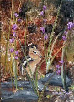 Wood Animal, Forest Landscape, Al Fresco Dining, Photo Canvas, Chipmunks, Beautiful Paintings, Oil Paintings, Oil On Canvas, Original Artwork