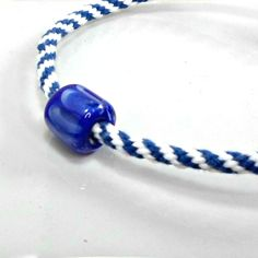 Bobs Flame Beads handmade lampwork on Kumihimo necklace white blue 25 1/2 in #Pat2 #cordpendant