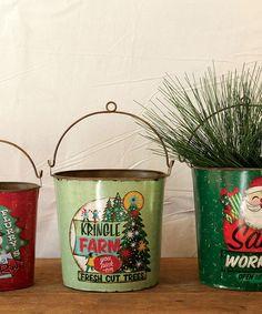 Look what I found on #zulily! Holiday Tin Bucket Set #zulilyfinds