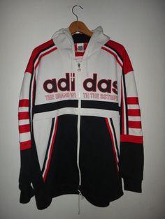 f837f20eb7b1 Vintage Adidas Jacket Trainer Hooded Hip Hop Run Dmc Swag Skaters Retro  Three Stripe Street wear Football Hooligan Men Casual Wear