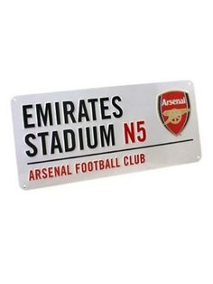 Arsenal Football Club Emirates Stadium Street Sign Fantastic metallic embossed Street Sign  Approx size 40cm x 18cm