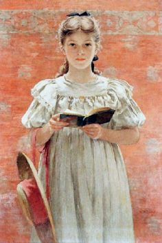 Walter MacEwen (American artist, 1860 – 1943) Girl Standing with Book