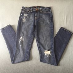 """BDG High Rise Cigarette Skinny Jeans Medium blue distressed cigarette skinnies by BDG FROM urban Outfitters. Perfect amount of distressing on front & slightly on back pockets (all by manufacturer) 33"""" inseam EUC Urban Outfitters Jeans Skinny"""