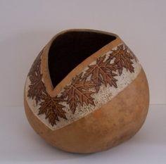 """*Gourd Art - """"Maple Leaf Carved Bowl"""" by Karen Brown"""